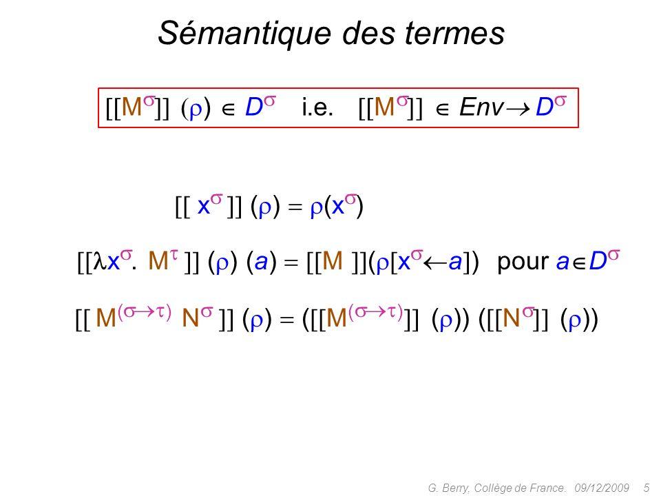 Sémantique des termes [[M]] ()  D i.e. [M]]  Env D